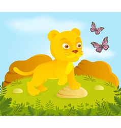 Little cortoon lion with butterflies vector