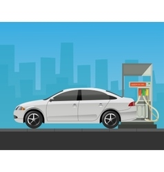 Gas station with car in city background vector