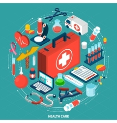 Healthcare concept isometric icon vector