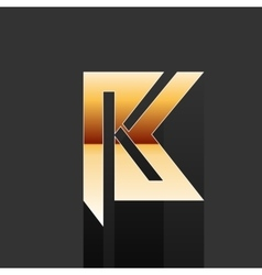 Gold letter k shape logo element vector