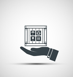 Hand holding a wooden box vector