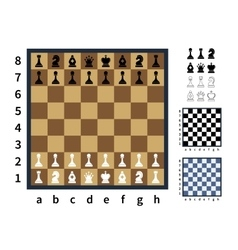 Set of chess icons and different chessboards vector