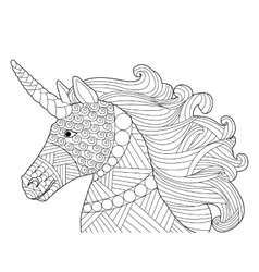 Head unicorn coloring for adults vector