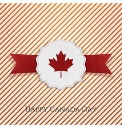 Happy canada day holiday emblem with type vector