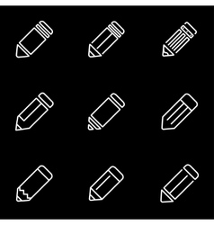 line pencil icon set vector image