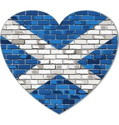 Scotland flag on a brick wall in heart shape vector