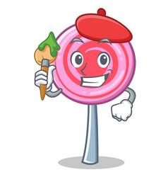 artist cute lollipop character cartoon vector image vector image