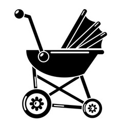 Baby carriage retro icon simple black style vector