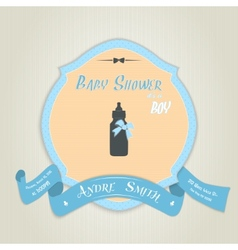 Baby shower invitation with baby milk bottle vector image vector image