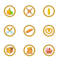 Bakery business icon set cartoon style vector
