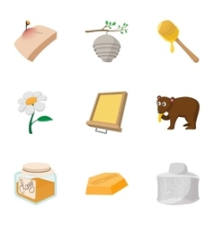 Beekeeping farm icons set cartoon style vector image vector image