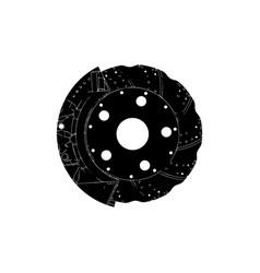 Black brake disc vector