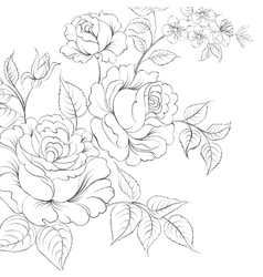 Bouquet of roses iolated on white background vector