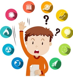 Boy asking questions about school work vector