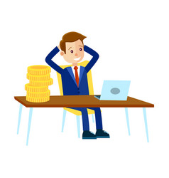 Businessman sits at office table vector
