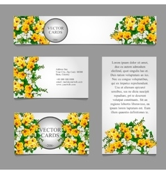 Cards with white and yellow flower composition vector