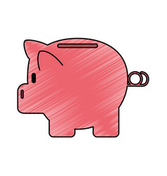 Color crayon stripe cartoon side view pink piggy vector