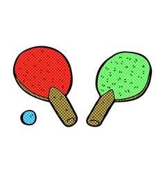 Comic cartoon table tennis bats vector