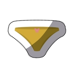 dotted sticker of yellow bikini panties with bow vector image