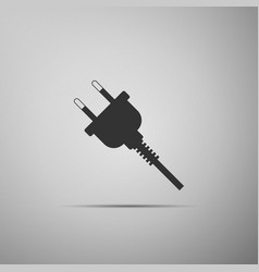Electric plug icon isolated on grey background vector