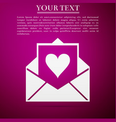 Envelope with valentine heart icon letter love vector
