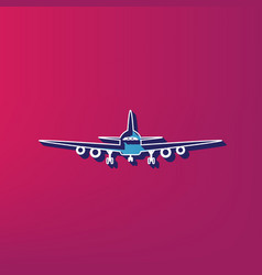 Flying plane sign front view blue 3d vector