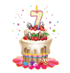 Happy Birthday cake 7 vector image vector image