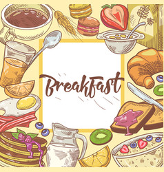Healthy breakfast hand drawn design with toasts vector