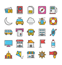 hotel and travel colored icons set 8 vector image