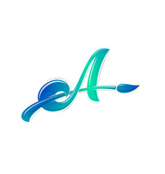 Letter a with brush monogram vector