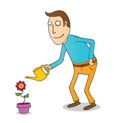Man wattering flower vector