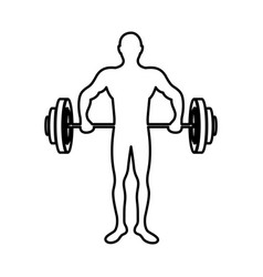 monochrome contour of man weightlifting vector image vector image