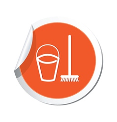 Mop and busket orange label vector