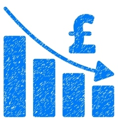 Pound recession bar chart grainy texture icon vector