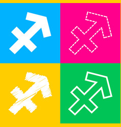 Sagittarius sign four styles of icon vector