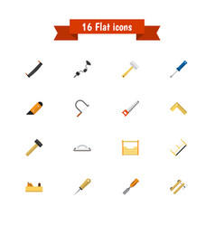 set of 16 editable instrument flat icons includes vector image vector image