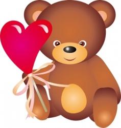 teddy bear with heart vector vector image vector image