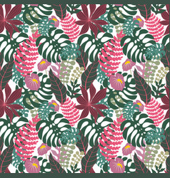 Tropical branches and leaves seamless pattern vector