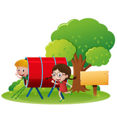 two kids playing in the playground vector image