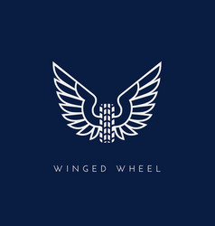 winged wheel vector image vector image