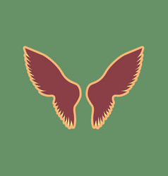 wings sign cordovan icon and vector image