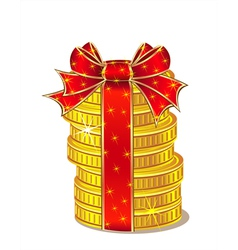 Stack of gold coins with ribbon and bow vector image