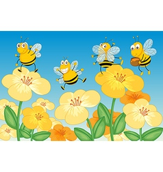 Flying honey bees vector image