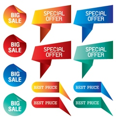 Tab banner with discount price isolated on vector