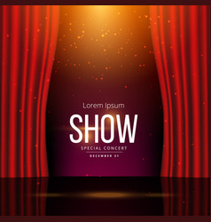 stage with red open curtains vector image