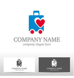 travel logo design with bag and heart vector image