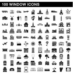 100 window icons set simple style vector
