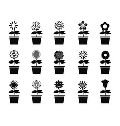 Pot flower plants icon set vector
