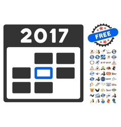 2017 calendar day icon with 2017 year bonus vector