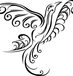 Bird on branch black tattoo stencil vector